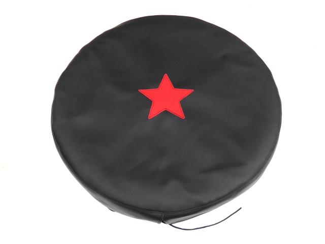 Spare wheel cover, artificial leather, black, red star (EU)
