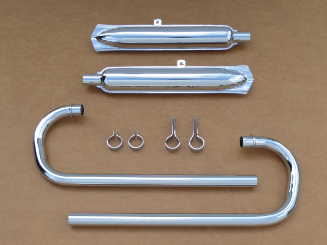"Exhaust complete set Dnepr w/""fishtail"" M-62-style, chrome-plated (HQ)"